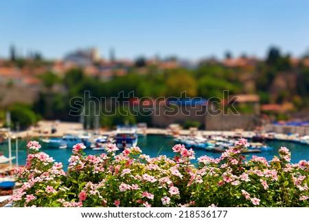 Old harbour in Antalya, Turkey - travel background - stock photo