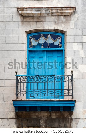 Old Havana,Cuba colonial architectural details. The landmark is a Unesco World Heritage site and a major tourist attraction and destination in the Caribbean Island - stock photo