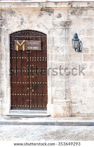 OLD HAVANA,CUBA-SEPTEMBER 19,2015:Victor Manuel gallery entrance.The village is a Unesco World Heritage Site and major tourist landmark.Victor Manuel was famous Cuban painter.The place sells Cuban art - stock photo