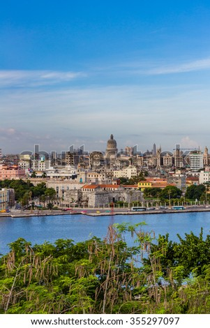 Old Havana shoreline in Cuba - stock photo