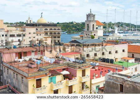 Old Havana with views over the bay and several well known landmarks - stock photo