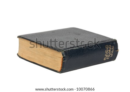 Old Hebrew bible, isolated with clipping path - stock photo