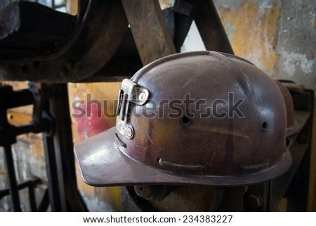 Old helmet - stock photo