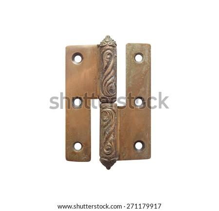 Old hinge. Isolated old rusty grunge metal hinge with decorative elements on white background. - stock photo