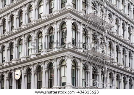 Old historic apartment building in the Soho area of Manhattan in New York City - stock photo