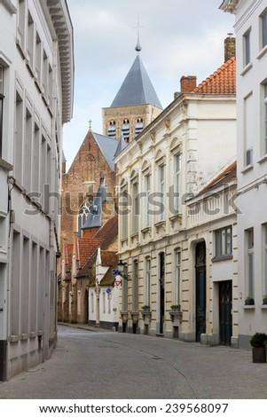 Old historic architecture of Brugge, Belgium - stock photo