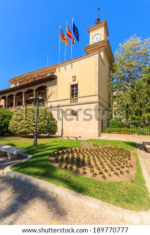 Old historic building in a park, Palma de Mallorca, Spain - stock photo