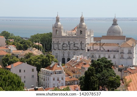 Old historic building in Lisbon, Portugal - stock photo