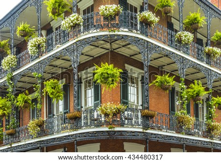 old historic New Orleans houses in french Quarter - stock photo
