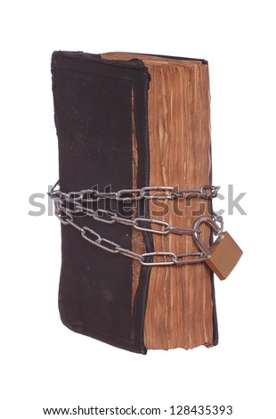 old historic prayer book protected with padlock and chain - stock photo