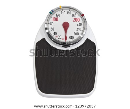 Old home weight scale isolated with clipping path. - stock photo