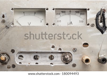 old homemade analogue voltmeter and amperemeter panel - stock photo