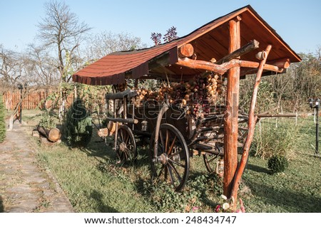 old horse cart decorated with onion ropes in a garden - stock photo