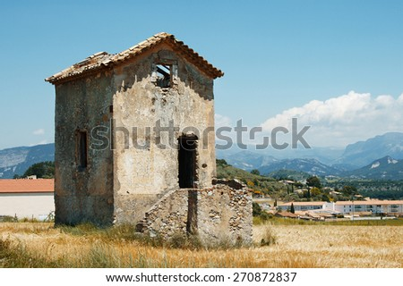 Old house in a wheat field. Provence, France - stock photo