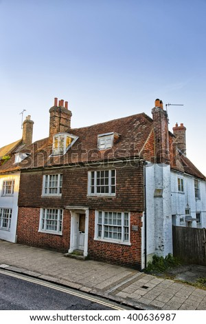 Old house in Battle in East Sussex in England. The city was called Battle in the memory of the Battle of Hastings. - stock photo
