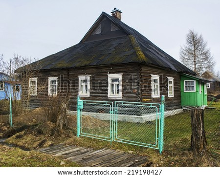 Old house of sruba.Rossiya - stock photo