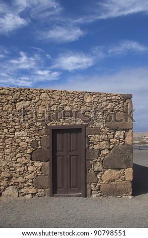 Old house. Rural building at fuerteventura island - stock photo