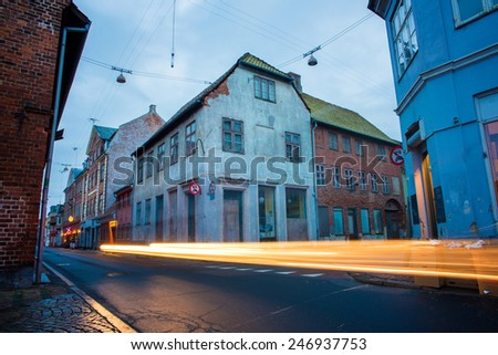 old houses at night in Helsingor - stock photo