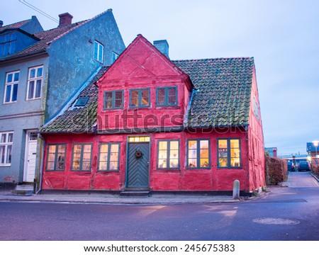 old houses in Helsingor Denmark - stock photo