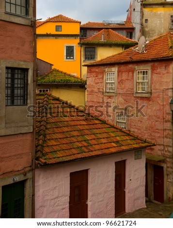 old houses in historic part of town, Porto, Portugal - stock photo