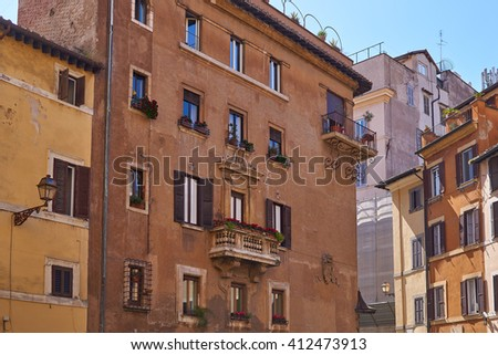 old houses in mediterranean style, front - stock photo