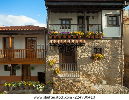 Old houses in Potes, Spain - stock photo