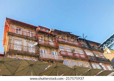 old houses of Ribeira embankment,  historic part of town, Porto, Portugal - stock photo