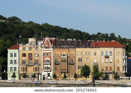 old houses on Danube riverside Budapest - stock photo