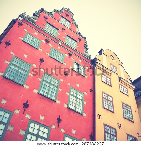 Old houses on Stortorget square in Stockholm. Retro style filtred image - stock photo
