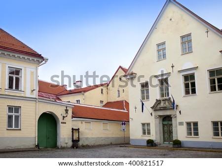 Old houses on the Old city streets. Tallinn. Estonia - stock photo