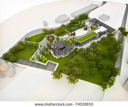 old houses restored and integrated in a new ensemble - stock photo
