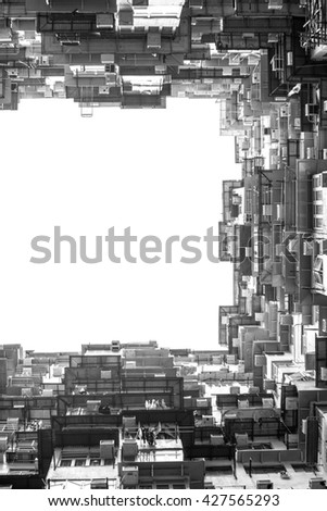 Old Housing, Apartment building in hong kong, Vertical Panoramic Photographs of apartment where the one of movie scene in the Quarry Bay district of Hong Kong. Black and white image - stock photo
