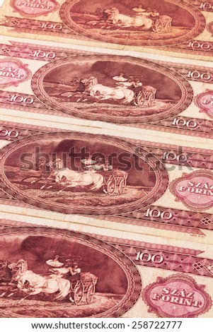 Old Hungarian  banknotes on the table - stock photo