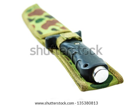 Old hunting knife in sheath on white background. - stock photo