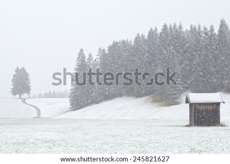 old hut and hills in heavy snowstorm, Germany, unfocused - stock photo
