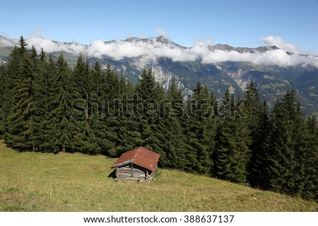 Old hut in the Bernese Oberland, Switzerland - stock photo