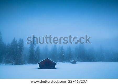 old huts and coniferous forest in winter fog, Germany - stock photo