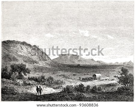 """Old illustration depicting Crakock region in South Africa in 1880, drawn by J. Vanione in Emil Holub's """"Seven Years in South Africa"""", published in Vienna, 1881 - stock photo"""