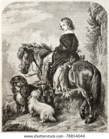 Old illustration of a girl horseback. Created by Freeman after Landser, published on Magasin Pittoresque, Paris, 1850 - stock photo