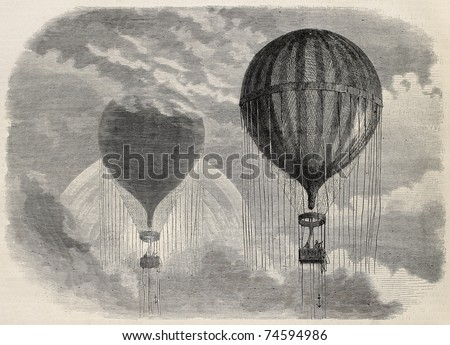 Old illustration of a strange optical phenomena during aerostat ascension in Paris, 15 april 1868. Created by Blanchard and Cosson-Smeeton, published on L'Illustration, Journal Universel, Paris, 1868 - stock photo