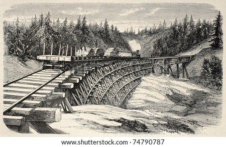 Old illustration of a trestle viaduct along Union Pacific Railroad, USA. Created by Lancelot and Cosson-Smeeton, published on L'Illustration, Journal Universel, Paris, 1868 - stock photo