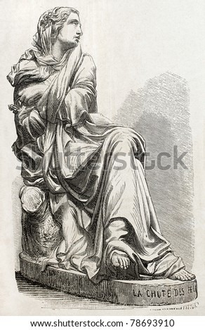 Old illustration of a veiled, woman statue. Created by Millet, published on L'Illustration Journal Universel, Paris, 1857 - stock photo