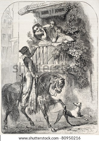 Old illustration of  Caballero paying homage to girls on a balcony. Created by Giraud, published on L'Illustration, Journal Universel, Paris, 1857 - stock photo