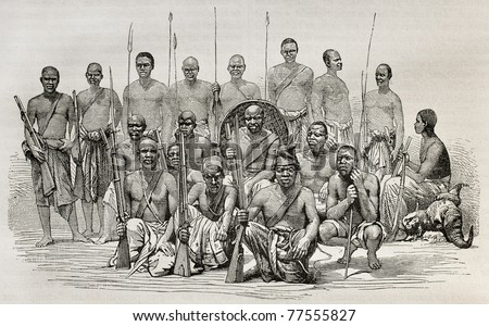 Old illustration of captains Speke and Grant escort during African exploration. Created by unidentified author after photo of Royer, published on Le Tour du Monde, Paris, 1864 - stock photo