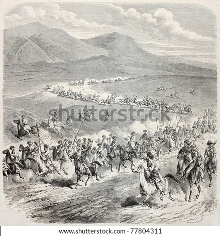 Old illustration of caravan travel during Caucasian war. Created by Blanchard, published on L'Illustration Journal Universel, Paris, 1857 - stock photo