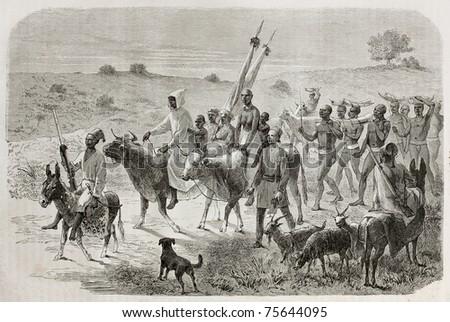 Old illustration of Elephant hunters caravan in White Nile region, Sudan. Created by Bayard,  published on Le Tour du Monde, Paris, 1864 - stock photo