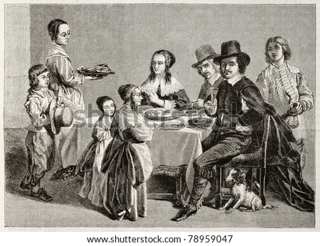 Old illustration of family meal. Created by Janet-Lange (sculp. Best, Hotelin and Regnier) after painting of Le Nain brothers. Published on Magasin Pittoresque, Paris, 1850 - stock photo