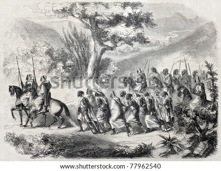 Old illustration of  hostages marching while watched by soldiers on horseback during French invasion of Algeria. Created by Gilardin, published on L'Illustration Journal Universel, Paris, 1857 - stock photo