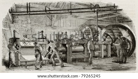 Old illustration of iron production in La Houilles foundry, France: rolling mills line moved by hydraulic wheel. By unidentified author, published on Magasin Pittoresque, Paris, 1850 - stock photo