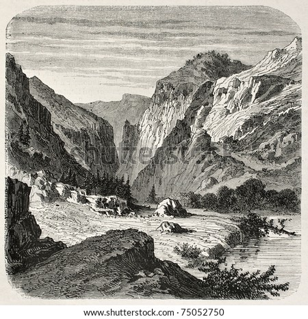 Old illustration of Laramie river, Wyoming. Created by Janet-Lange, published on L'Illustration, Journal Universel, Paris, 1868 - stock photo